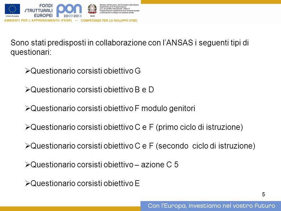5 Sono stati predisposti in collaborazione con lANSAS i seguenti tipi di questionari: Questionario corsisti obiettivo G Questionario corsisti obiettiv
