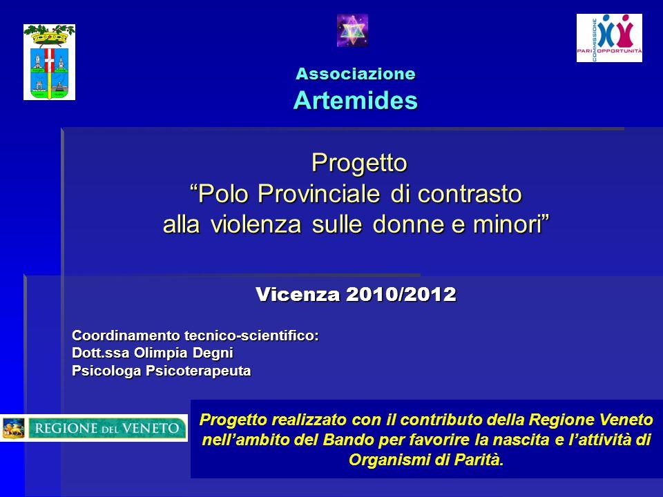 Associazione Artemides Progetto Polo Provinciale di contrasto alla violenza sulle donne e minori Vicenza 2010/2012 Coordinamento tecnico-scientifico:
