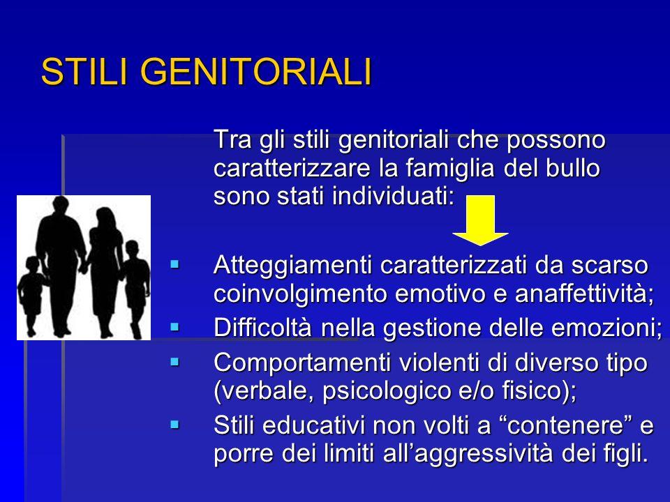 STILI GENITORIALI Tra gli stili genitoriali che possono caratterizzare la famiglia del bullo sono stati individuati: Atteggiamenti caratterizzati da s