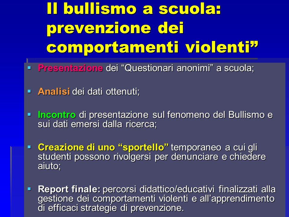 Il bullismo a scuola: prevenzione dei comportamenti violenti Presentazione dei Questionari anonimi a scuola; Presentazione dei Questionari anonimi a s