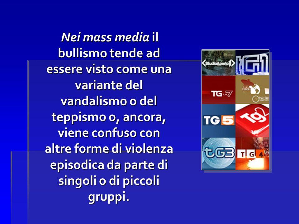 Nei mass media il bullismo tende ad essere visto come una variante del vandalismo o del teppismo o, ancora, viene confuso con altre forme di violenza episodica da parte di singoli o di piccoli gruppi.