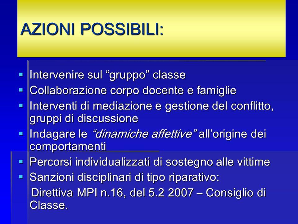 AZIONI POSSIBILI: Intervenire sul gruppo classe Intervenire sul gruppo classe Collaborazione corpo docente e famiglie Collaborazione corpo docente e f