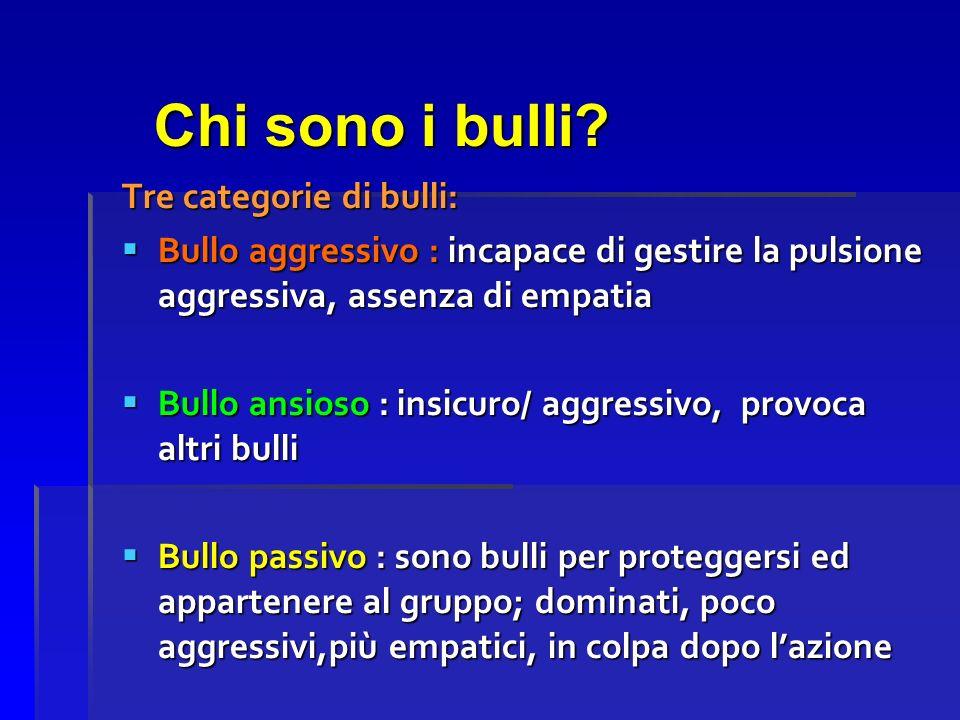 Chi sono i bulli? Tre categorie di bulli: Bullo aggressivo : incapace di gestire la pulsione aggressiva, assenza di empatia Bullo aggressivo : incapac