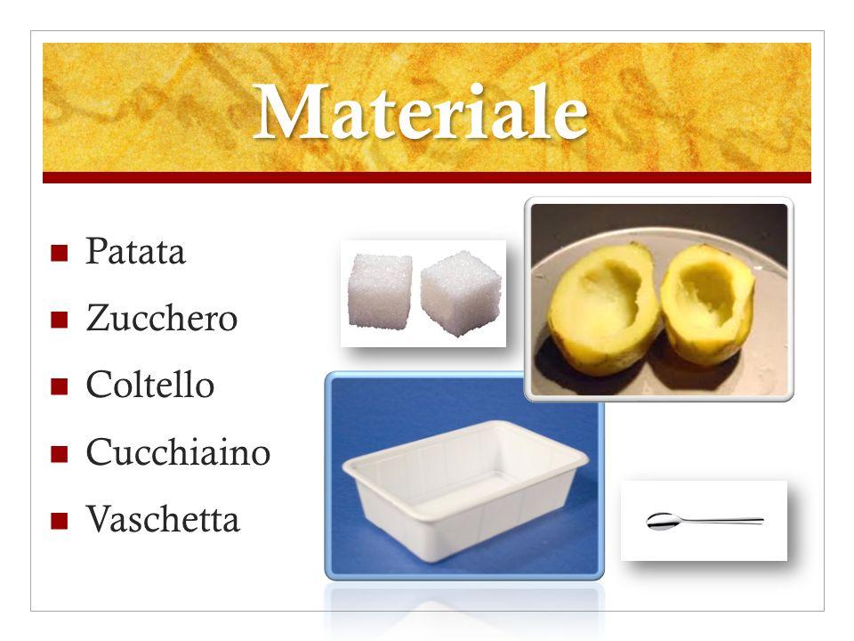 Materiale Patata Zucchero Coltello Cucchiaino Vaschetta