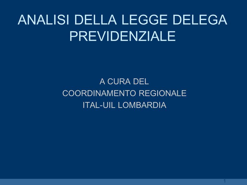 1 ANALISI DELLA LEGGE DELEGA PREVIDENZIALE A CURA DEL COORDINAMENTO REGIONALE ITAL-UIL LOMBARDIA