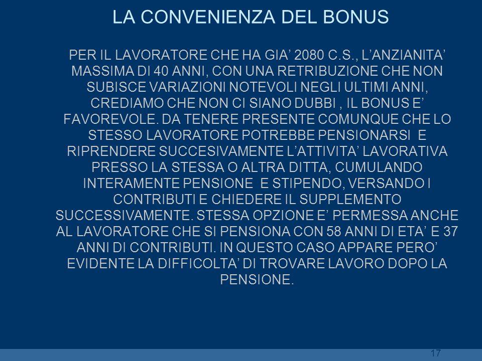 17 LA CONVENIENZA DEL BONUS PER IL LAVORATORE CHE HA GIA 2080 C.S., LANZIANITA MASSIMA DI 40 ANNI, CON UNA RETRIBUZIONE CHE NON SUBISCE VARIAZIONI NOT