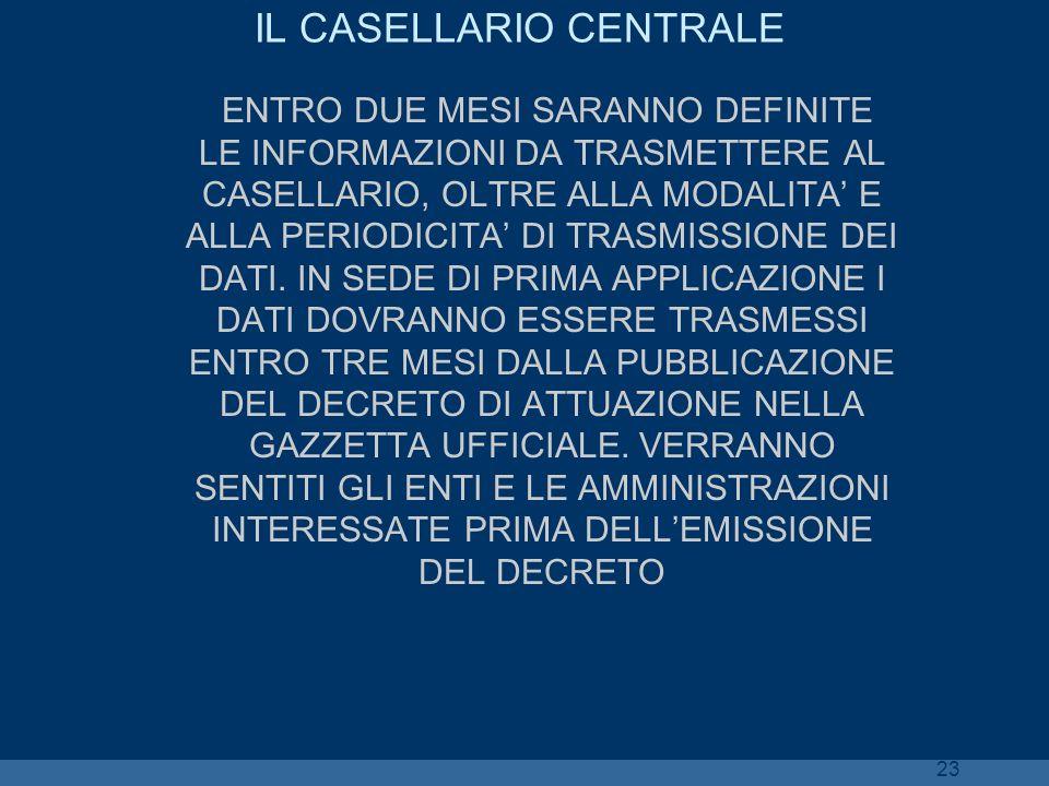 23 IL CASELLARIO CENTRALE ENTRO DUE MESI SARANNO DEFINITE LE INFORMAZIONI DA TRASMETTERE AL CASELLARIO, OLTRE ALLA MODALITA E ALLA PERIODICITA DI TRAS