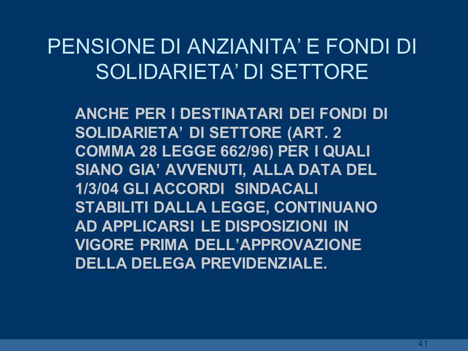 41 PENSIONE DI ANZIANITA E FONDI DI SOLIDARIETA DI SETTORE ANCHE PER I DESTINATARI DEI FONDI DI SOLIDARIETA DI SETTORE (ART. 2 COMMA 28 LEGGE 662/96)