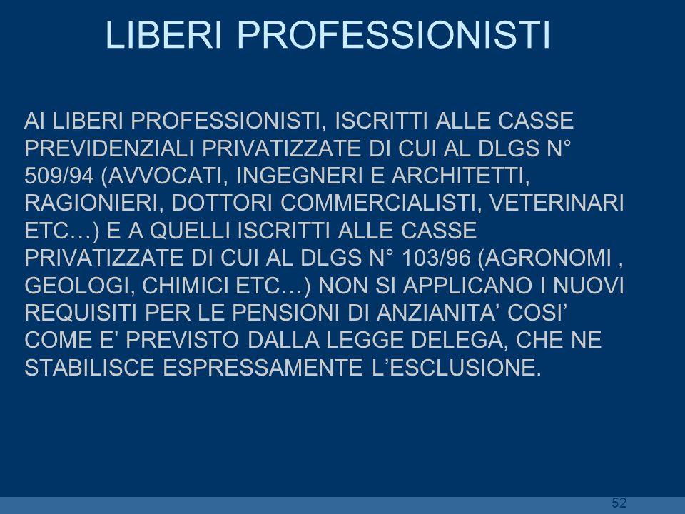52 LIBERI PROFESSIONISTI AI LIBERI PROFESSIONISTI, ISCRITTI ALLE CASSE PREVIDENZIALI PRIVATIZZATE DI CUI AL DLGS N° 509/94 (AVVOCATI, INGEGNERI E ARCH