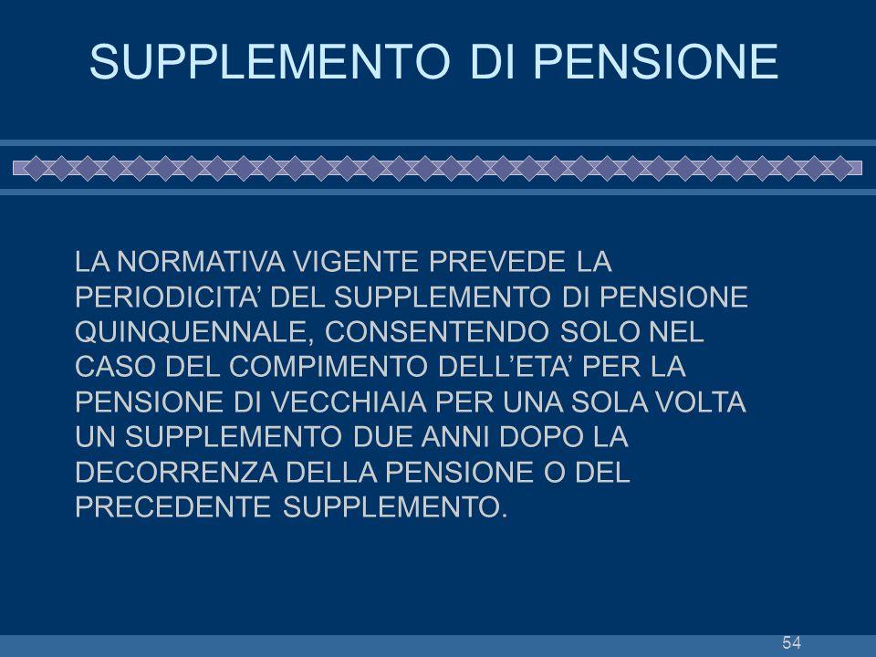 54 SUPPLEMENTO DI PENSIONE LA NORMATIVA VIGENTE PREVEDE LA PERIODICITA DEL SUPPLEMENTO DI PENSIONE QUINQUENNALE, CONSENTENDO SOLO NEL CASO DEL COMPIME