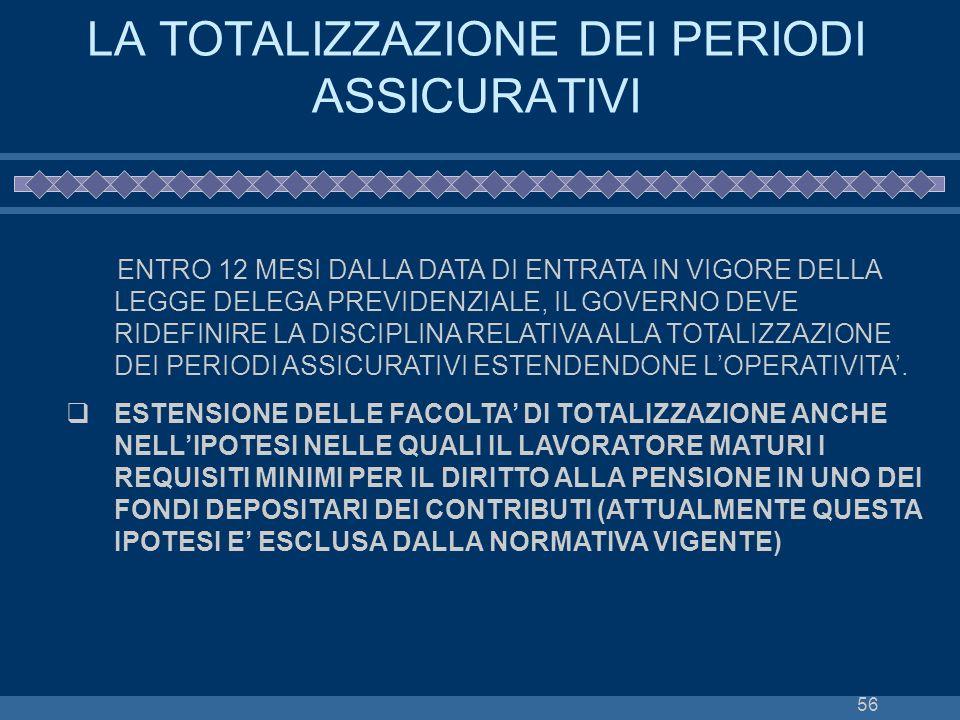 56 LA TOTALIZZAZIONE DEI PERIODI ASSICURATIVI ENTRO 12 MESI DALLA DATA DI ENTRATA IN VIGORE DELLA LEGGE DELEGA PREVIDENZIALE, IL GOVERNO DEVE RIDEFINI