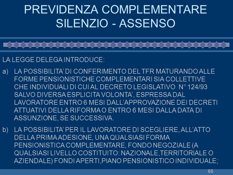 65 PREVIDENZA COMPLEMENTARE SILENZIO - ASSENSO LA LEGGE DELEGA INTRODUCE: a)LA POSSIBILITA DI CONFERIMENTO DEL TFR MATURANDO ALLE FORME PENSIONISTICHE