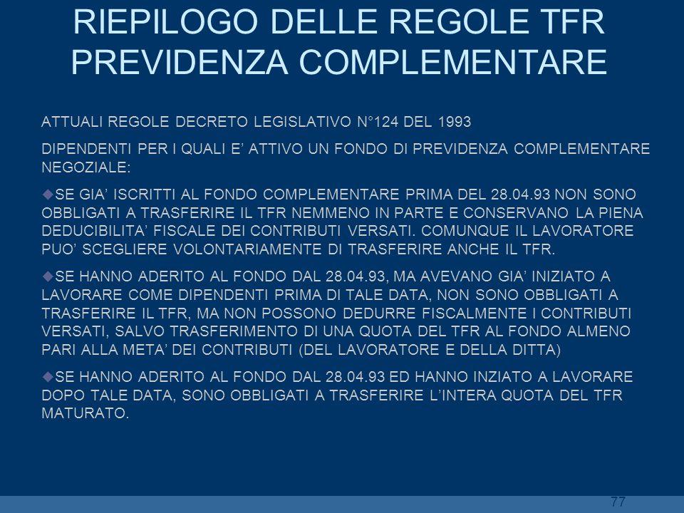 77 RIEPILOGO DELLE REGOLE TFR PREVIDENZA COMPLEMENTARE ATTUALI REGOLE DECRETO LEGISLATIVO N°124 DEL 1993 DIPENDENTI PER I QUALI E ATTIVO UN FONDO DI P