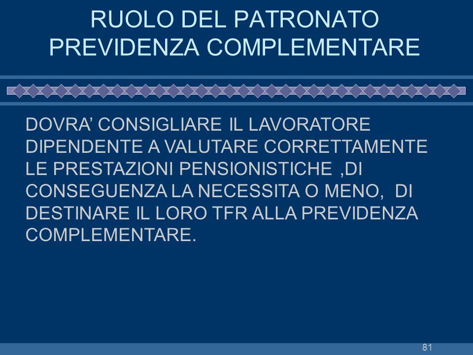 81 RUOLO DEL PATRONATO PREVIDENZA COMPLEMENTARE DOVRA CONSIGLIARE IL LAVORATORE DIPENDENTE A VALUTARE CORRETTAMENTE LE PRESTAZIONI PENSIONISTICHE,DI C