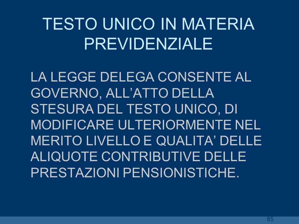 85 TESTO UNICO IN MATERIA PREVIDENZIALE LA LEGGE DELEGA CONSENTE AL GOVERNO, ALLATTO DELLA STESURA DEL TESTO UNICO, DI MODIFICARE ULTERIORMENTE NEL ME