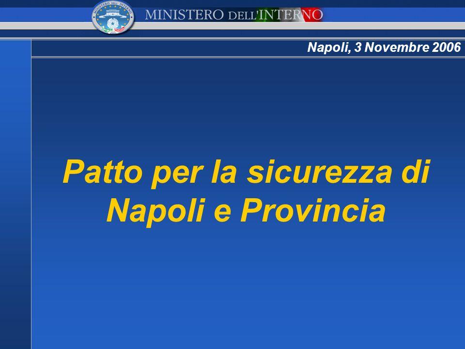 Napoli, 3 Novembre 2006 Patto per la sicurezza di Napoli e Provincia