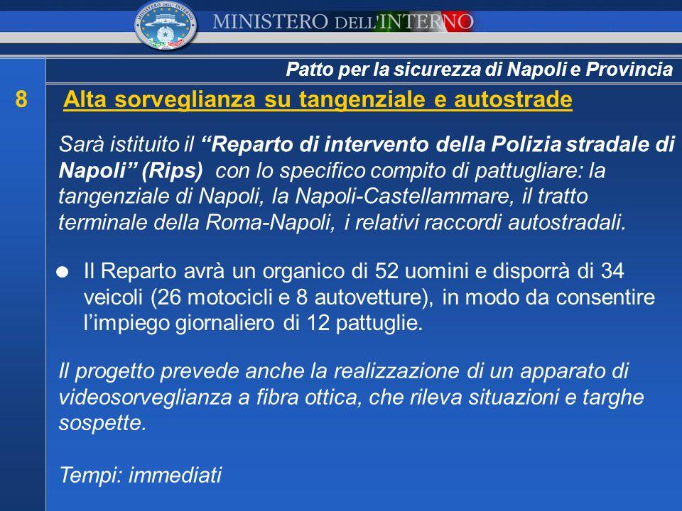 Patto per la sicurezza di Napoli e Provincia 8Alta sorveglianza su tangenziale e autostrade Sarà istituito il Reparto di intervento della Polizia stra
