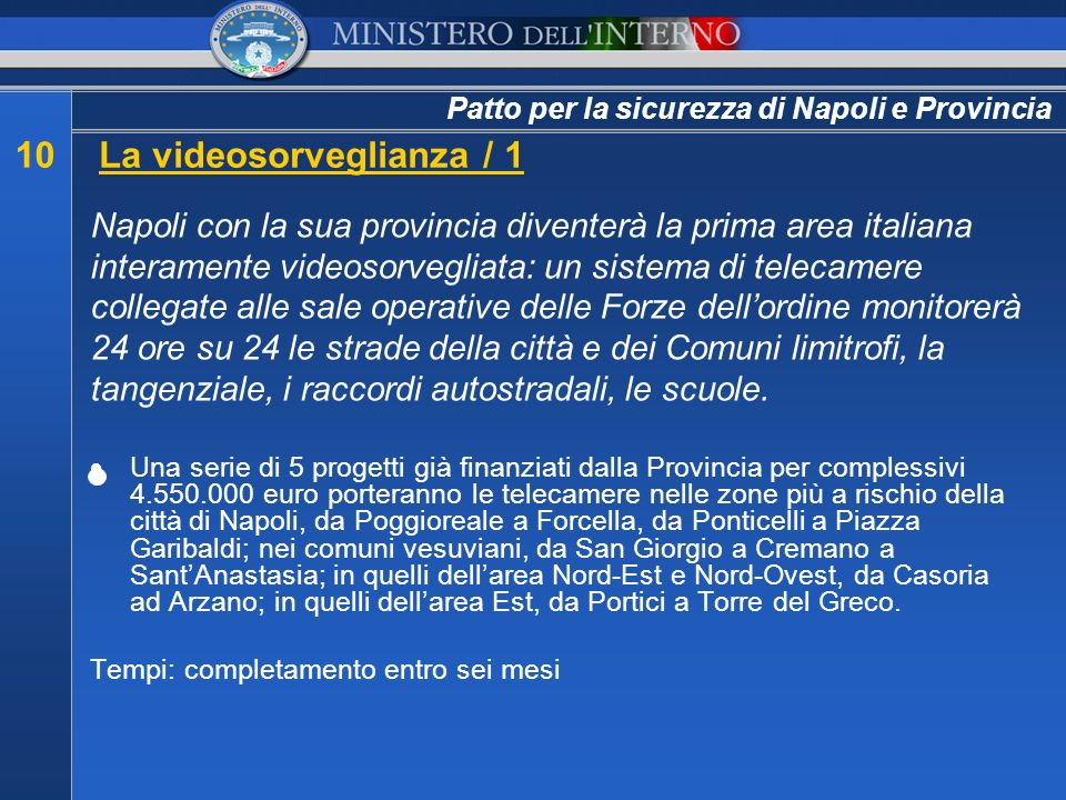 Patto per la sicurezza di Napoli e Provincia 10La videosorveglianza / 1 Napoli con la sua provincia diventerà la prima area italiana interamente video