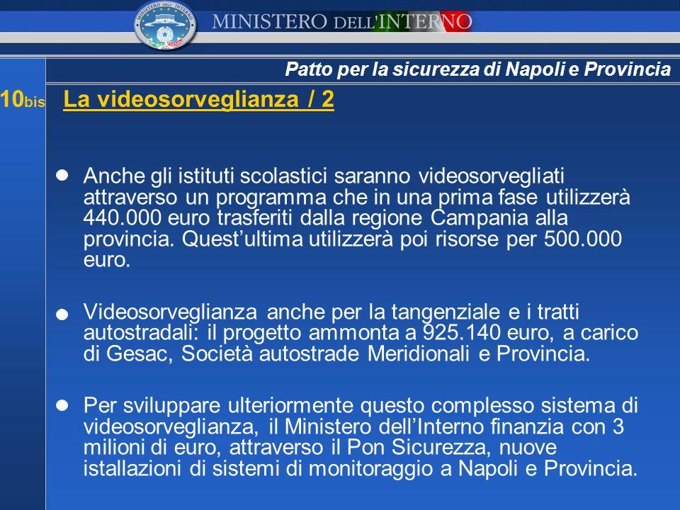 Patto per la sicurezza di Napoli e Provincia 10 bis La videosorveglianza / 2 Anche gli istituti scolastici saranno videosorvegliati attraverso un prog