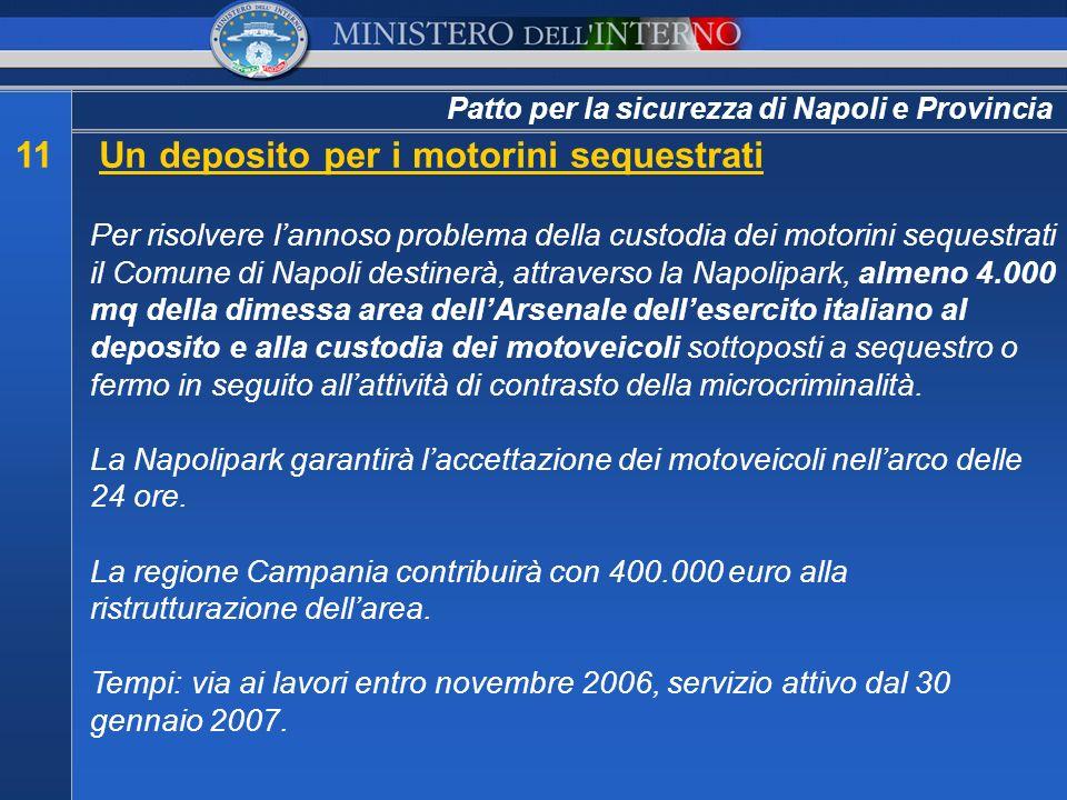 Patto per la sicurezza di Napoli e Provincia 11Un deposito per i motorini sequestrati Per risolvere lannoso problema della custodia dei motorini seque