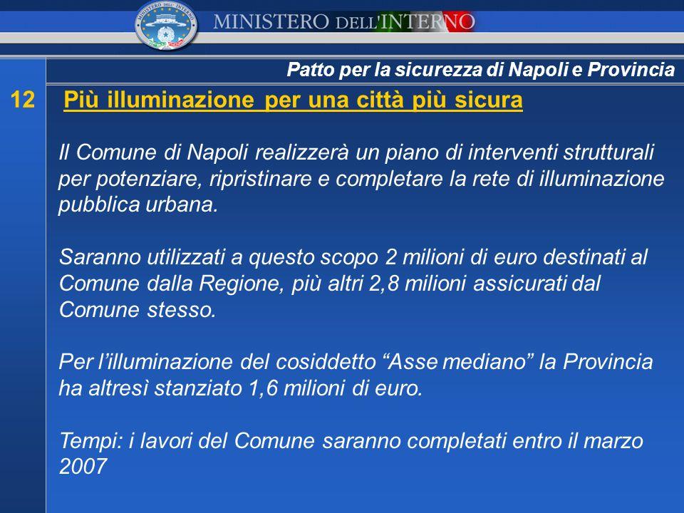 Patto per la sicurezza di Napoli e Provincia 12Più illuminazione per una città più sicura Il Comune di Napoli realizzerà un piano di interventi strutt
