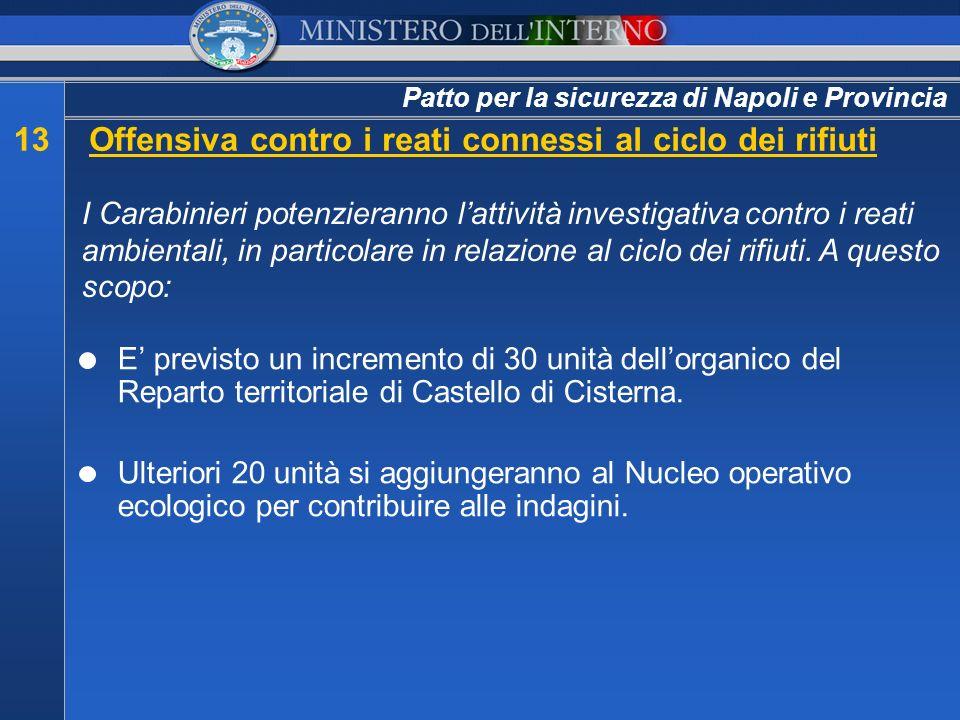 Patto per la sicurezza di Napoli e Provincia 13Offensiva contro i reati connessi al ciclo dei rifiuti I Carabinieri potenzieranno lattività investigat