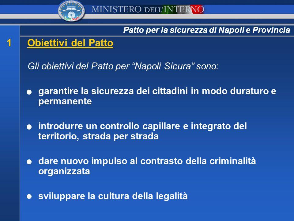 1Obiettivi del Patto Gli obiettivi del Patto per Napoli Sicura sono: garantire la sicurezza dei cittadini in modo duraturo e permanente introdurre un