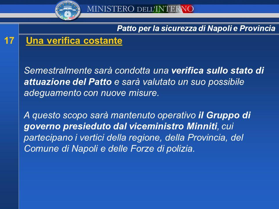 Patto per la sicurezza di Napoli e Provincia 17Una verifica costante Semestralmente sarà condotta una verifica sullo stato di attuazione del Patto e s