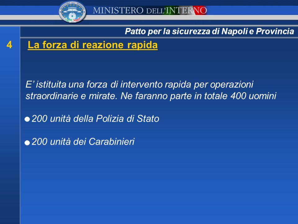 Patto per la sicurezza di Napoli e Provincia E istituita una forza di intervento rapida per operazioni straordinarie e mirate. Ne faranno parte in tot