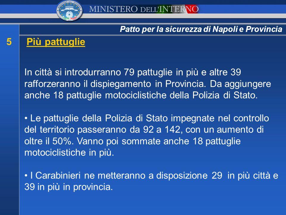 Patto per la sicurezza di Napoli e Provincia 5Più pattuglie In città si introdurranno 79 pattuglie in più e altre 39 rafforzeranno il dispiegamento in