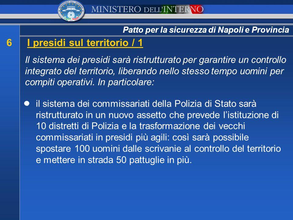 Patto per la sicurezza di Napoli e Provincia 6I presidi sul territorio / 1 Il sistema dei presidi sarà ristrutturato per garantire un controllo integr