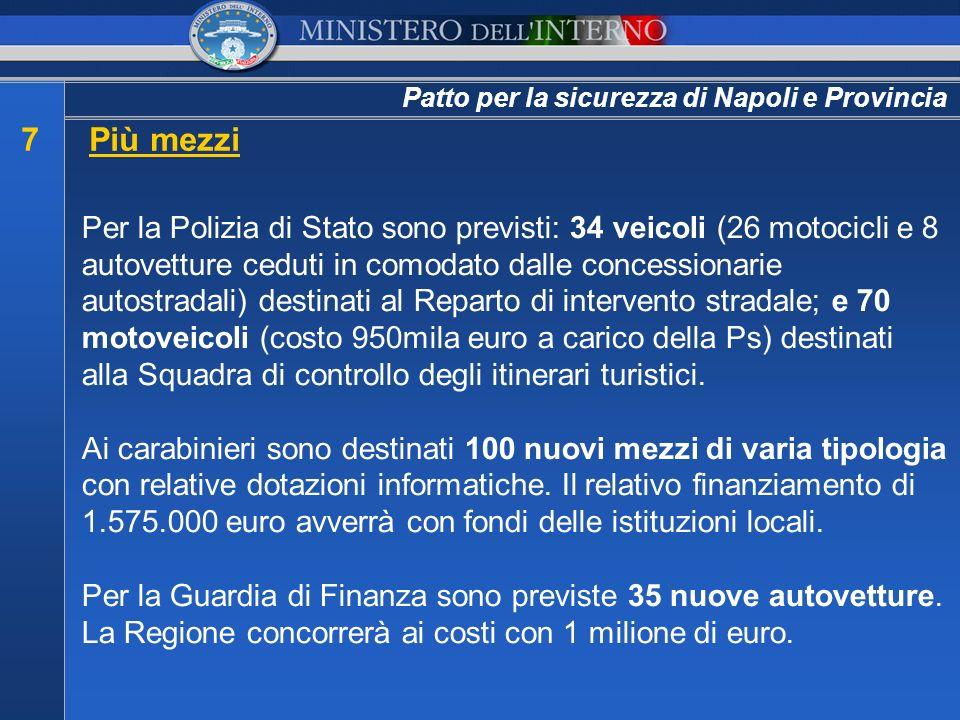 Patto per la sicurezza di Napoli e Provincia 7Più mezzi Per la Polizia di Stato sono previsti: 34 veicoli (26 motocicli e 8 autovetture ceduti in como