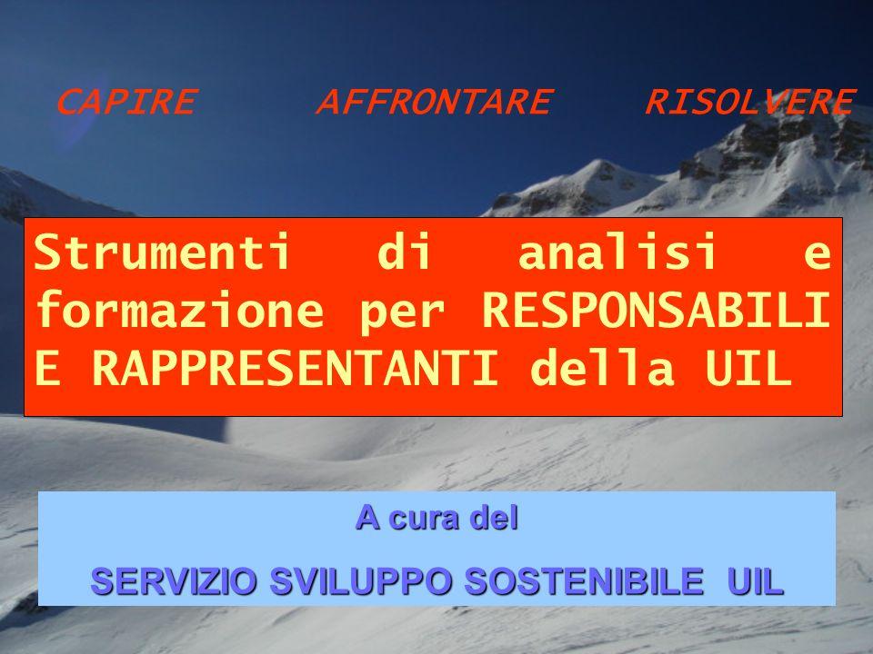 Strumenti di analisi e formazione per RESPONSABILI E RAPPRESENTANTI della UIL A cura del SERVIZIO SVILUPPO SOSTENIBILE UIL CAPIREAFFRONTARE RISOLVERE