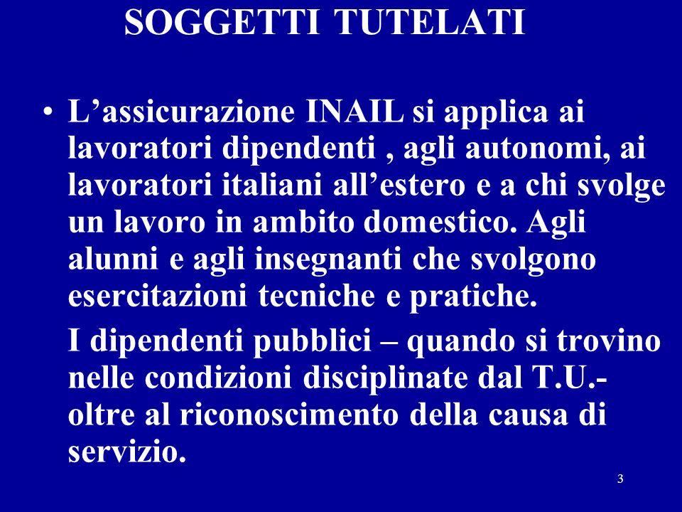 3 SOGGETTI TUTELATI Lassicurazione INAIL si applica ai lavoratori dipendenti, agli autonomi, ai lavoratori italiani allestero e a chi svolge un lavoro in ambito domestico.