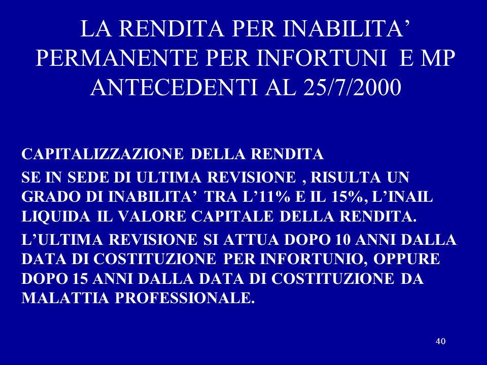 39 LA RENDITA PER INABILITA PERMANENTE PER INFORTUNI E MP ANTECEDENTI AL 25/7/2000 GLI EVENTI CHE ABBIANO PROVOCATO UNA DIMINUZIONE DELLA CAPACITA LAV