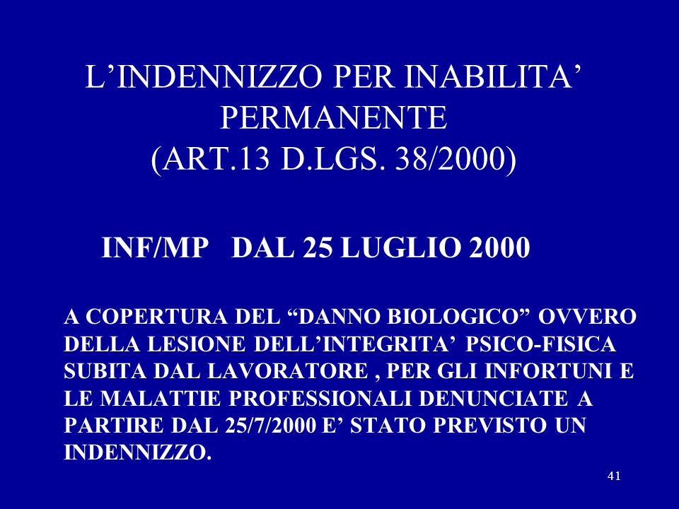40 LA RENDITA PER INABILITA PERMANENTE PER INFORTUNI E MP ANTECEDENTI AL 25/7/2000 CAPITALIZZAZIONE DELLA RENDITA SE IN SEDE DI ULTIMA REVISIONE, RISU