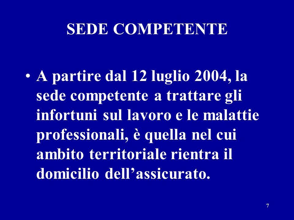 7 SEDE COMPETENTE A partire dal 12 luglio 2004, la sede competente a trattare gli infortuni sul lavoro e le malattie professionali, è quella nel cui ambito territoriale rientra il domicilio dellassicurato.