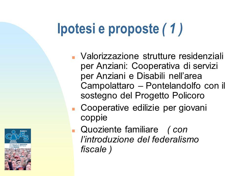 Ipotesi e proposte ( 1 ) n Valorizzazione strutture residenziali per Anziani: Cooperativa di servizi per Anziani e Disabili nellarea Campolattaro – Po