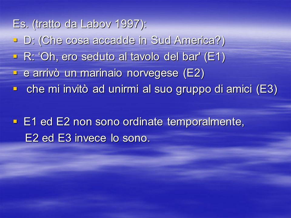 Es. (tratto da Labov 1997): D: (Che cosa accadde in Sud America?) D: (Che cosa accadde in Sud America?) R: Oh, ero seduto al tavolo del bar' (E1) R: O