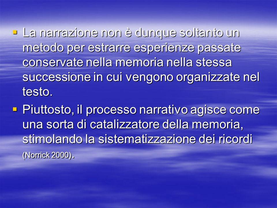 La narrazione non è dunque soltanto un metodo per estrarre esperienze passate conservate nella memoria nella stessa successione in cui vengono organizzate nel testo.