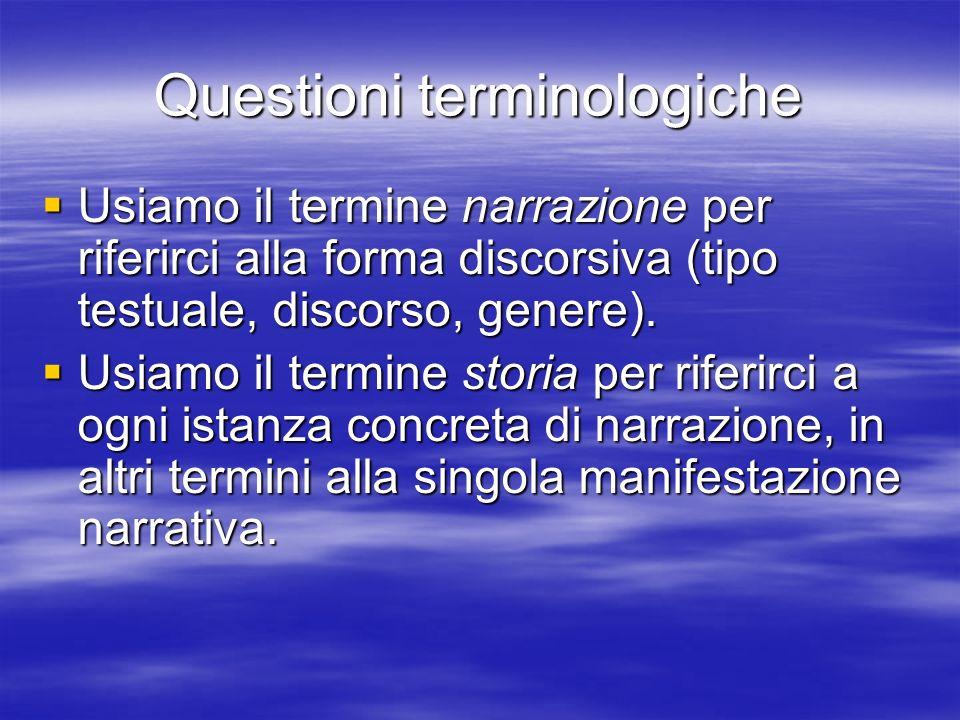 Questioni terminologiche Usiamo il termine narrazione per riferirci alla forma discorsiva (tipo testuale, discorso, genere).
