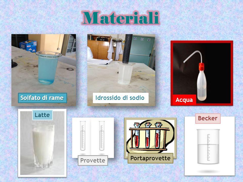 Solfato di rame Idrossido di sodio Acqua Latte Portaprovette Provette Becker