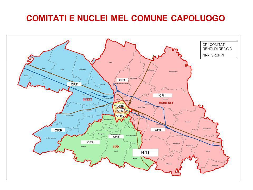 COMITATI E NUCLEI MEL COMUNE CAPOLUOGO NR1 CR: COMITATI RENZI DI REGGIO NR= GRUPPI