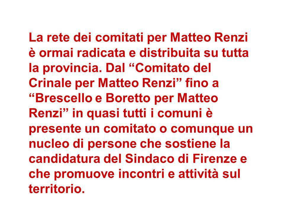 La rete dei comitati per Matteo Renzi è ormai radicata e distribuita su tutta la provincia.