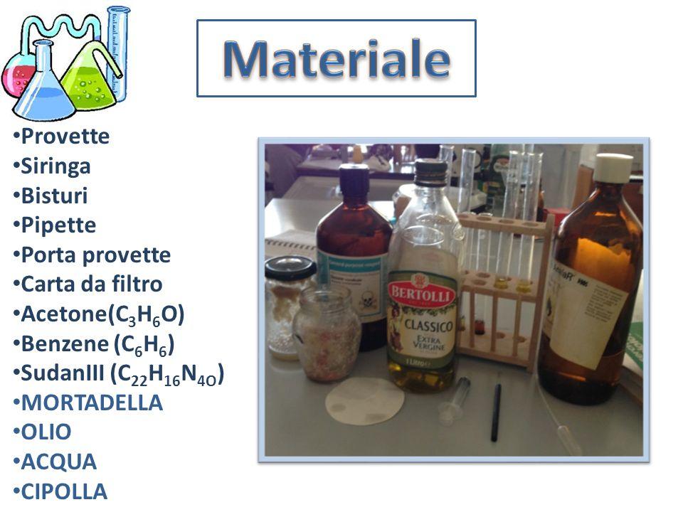 Provette Siringa Bisturi Pipette Porta provette Carta da filtro Acetone(C 3 H 6 O) Benzene (C 6 H 6 ) SudanIII (C 22 H 16 N 4O ) MORTADELLA OLIO ACQUA