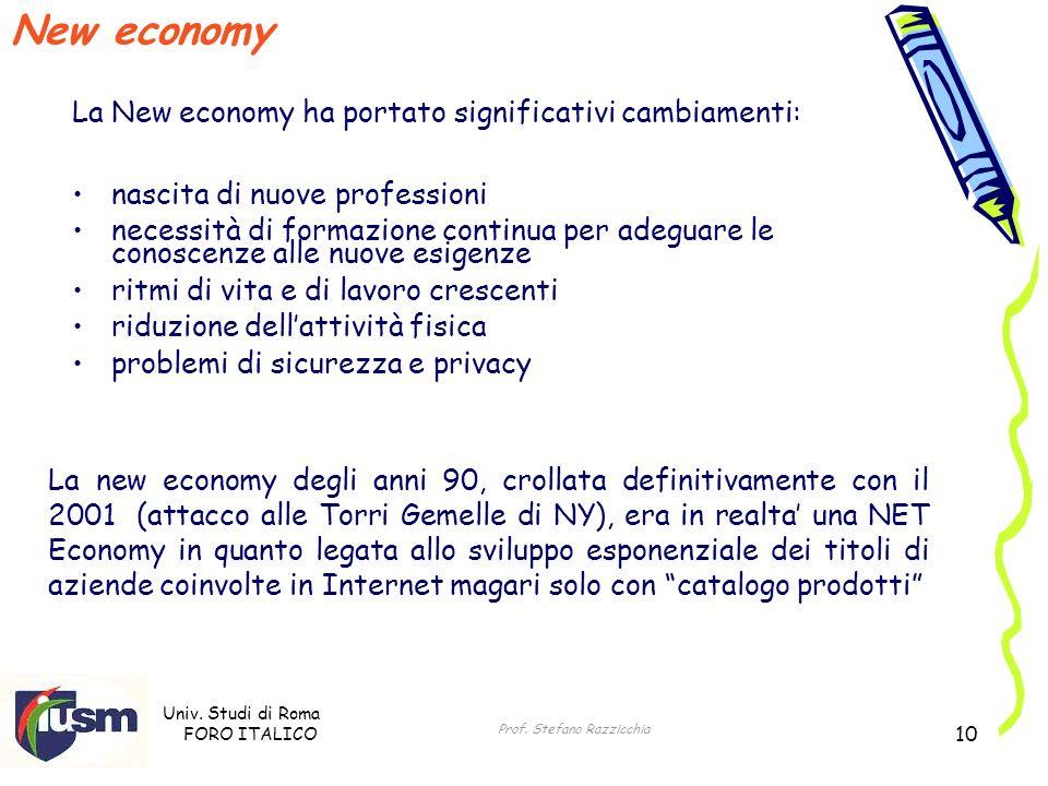 Univ. Studi di Roma FORO ITALICO Prof. Stefano Razzicchia 10 New economy nascita di nuove professioni necessità di formazione continua per adeguare le