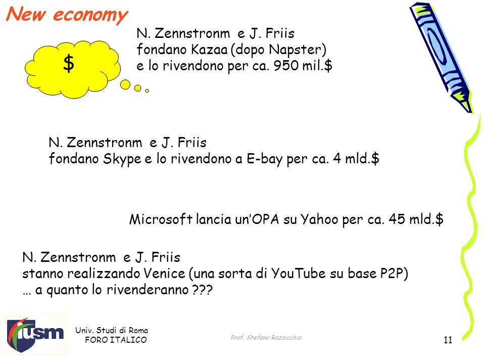 Univ. Studi di Roma FORO ITALICO Prof. Stefano Razzicchia 11 New economy $ N. Zennstronm e J. Friis fondano Kazaa (dopo Napster) e lo rivendono per ca