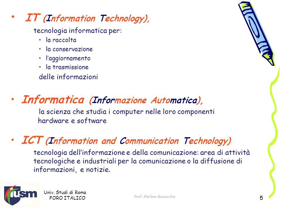 Univ. Studi di Roma FORO ITALICO Prof. Stefano Razzicchia 5 IT (Information Technology), tecnologia informatica per: la raccolta la conservazione lagg