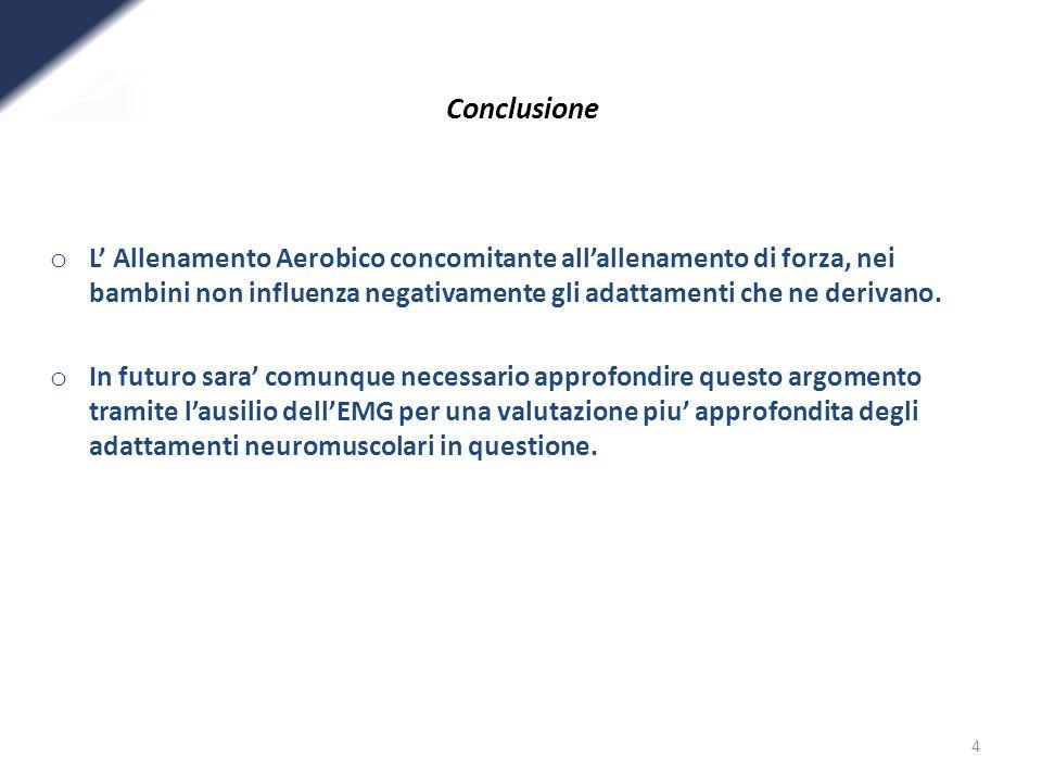 4 Conclusione o L Allenamento Aerobico concomitante allallenamento di forza, nei bambini non influenza negativamente gli adattamenti che ne derivano.