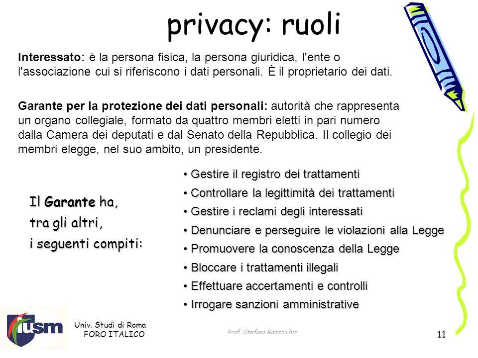 Univ. Studi di Roma FORO ITALICO Prof. Stefano Razzicchia 11 privacy: ruoli Interessato: è la persona fisica, la persona giuridica, l'ente o l'associa